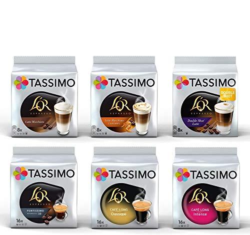 Tassimo L'OR Lovers Coffee Bundle - L'OR Latte Macchiato/ Latte Macchiato Caramel/Double Shot Latte/Fortissimo/Café Long Classique/Café Long Intense - 6 Packungen (72 Portionen)