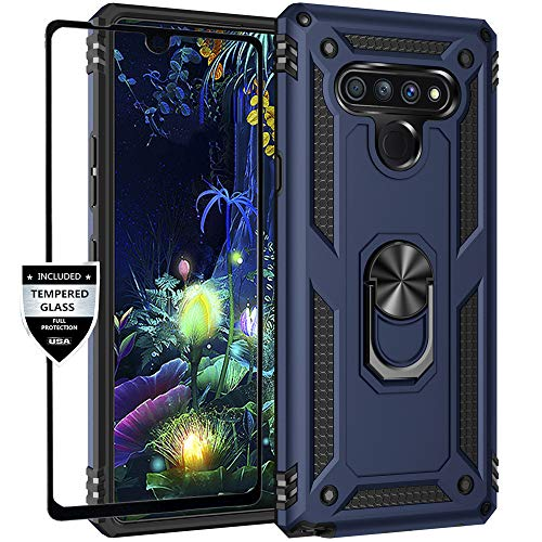 Dretal LG Stylo 6 Case with Tempered Glass Screen Protector, Military Grade Shockproof Protective Case Cover with Rotating Holder Kickstand for LG Stylo 6 (Navy)