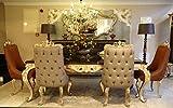 Casa Padrino Conjunto de sillas de Comedor Barroco de Lujo Gris/marrón/Oro - 6 Sillas de Cocina de Estilo Barroco - Muebles de Comedor barrocos