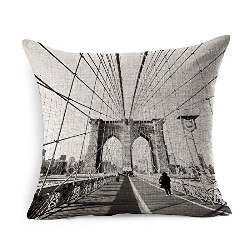 Funda de Almohada Square Travel City Vintage Brooklyn Bridge New Bay York Old Skyline NYC Cityscape USA Funda de Almohada Decoración para el hogar Funda de cojín 18x18 Pulgadas