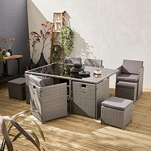 Salón de jardín 6-10 plazas - Vabo - Color Gris, Cojines Gris Jaspeado, Mesa encastrable