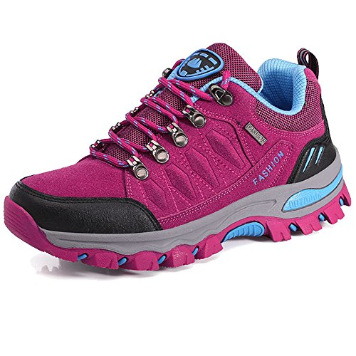 BOLOG Chaussures de Randonnée Outdoor Hommes Basses Trekking Promenades Sports Sneakers Femme Antichoc Antidérapant Chaussures,Rose,EU36