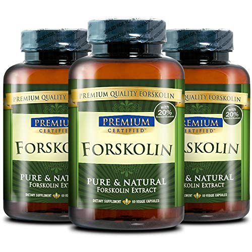 100% Pure Forskolin Premium Extract - 20% Coleus Forskohlii - Natural Weight Loss, Fat Burner and Belly Buster- 180 Veg Capsules (3 Months Supply)