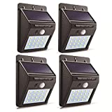 Luz Solar Exterior con sensor de movimiento, lluminación Exterior Solares con 3 modos, resistentes al agua, lámparas solares de pared para puerta de casa, para Exterior Jardin, garaje, valla(4 Pack)
