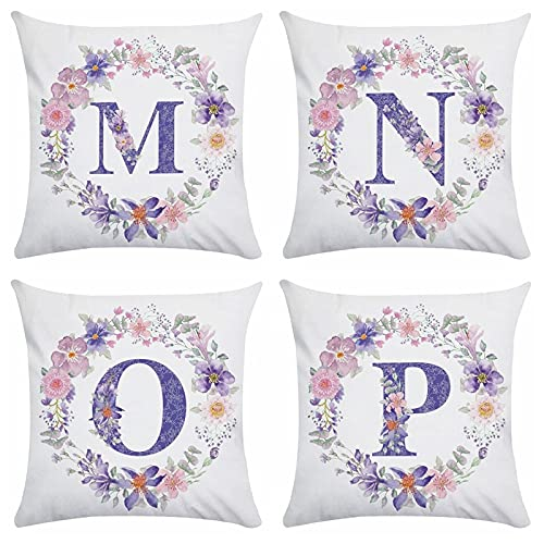 MWMG Cojines Sofa,Juego De 4 Piezas Corona Floral Púrpura Moderna Iniciales Estética Suave Comfye Estampado De Doble Cara Funda De Almohada Lumbar Cuadrada Funda De Cojín para Sofá Coches Jardín Al