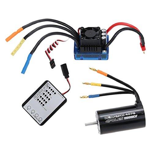 sharprepublic 4076 2000KV Brushless Motor + 120A ESC + LED Program Card per 1/8 RC Car