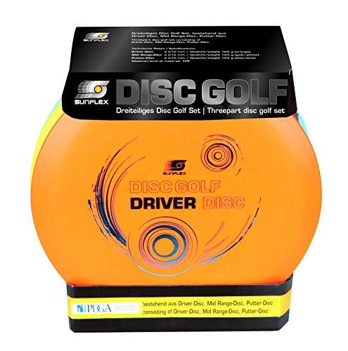 Sunflex Wurfscheibenset für Disc Golf Sport | extrem hochwertig und auch für Wettkämpfe zugelassen | Wurfscheiben für drei versch. Distanzen