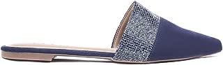Mule Dazzle Bico Fino Detalhe Malha Cristal Azul Marinho