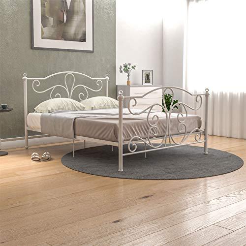 Vida Designs Chicago King Size Bed 5ft White & Value Memory Foam Mattress Metal Frame Medium Firmness 5 Inch Cream Upholstery UKFR