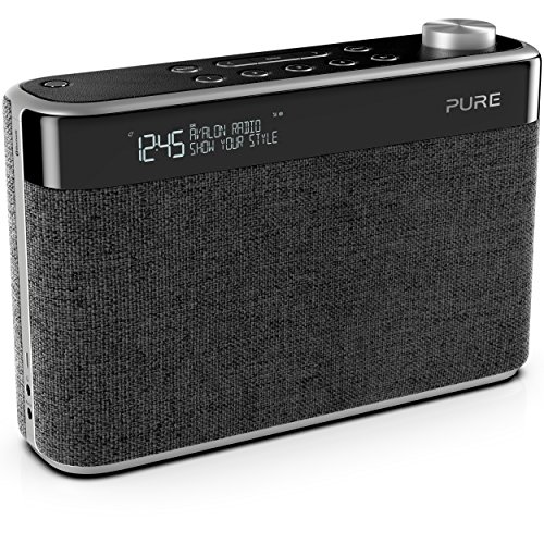 Pure Avalon N5 Bluetooth Digitalradio (DAB/DAB+ und UKW Radio mit Bluetooth, Pop-Taste zur Lautstärkeregelung, Weckfunktionen, Küchen- und Sleep-Timer, 10 Senderspeicherplätze, AUX), Kohle, Charcoal