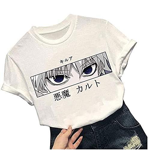 Camiseta Hunter X Hunter para Mujer, Material de Algodón Suave y Cómodo, Adecuado para Hombres y Mujeres, Blusas Cortas Verano con Estampado Anime en 3D, Camiseta Estampado Manga Informal
