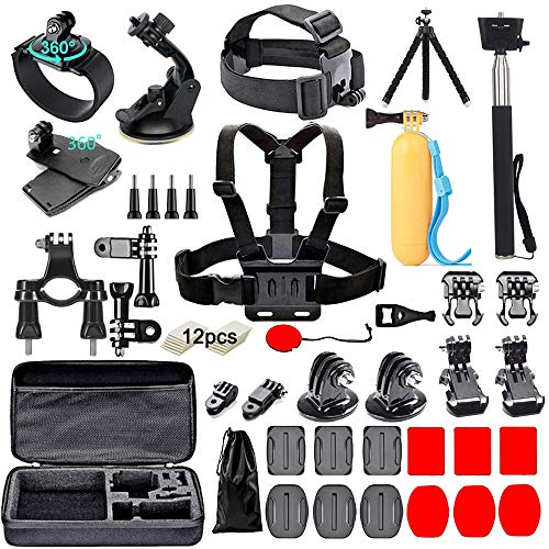 Black Pro Camera Accessory Kit Compatible with GoPro Hero9/Hero8/Hero7, GoPro Max, GoPro Fusion, Insta360, DJI Osmo Action, AKASO, APEMAN, Campark, SJCAM