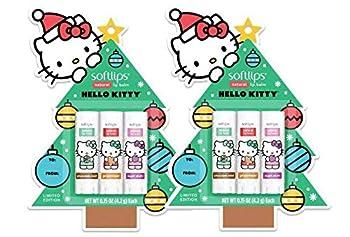Softlips Christmas Tree Hello Kitty Natural Lip Balm - Chocolate Mint Gingerbread Sugar Plum 0.15 oz  Pack of 2