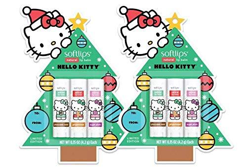 Softlips Christmas Tree Hello Kitty Natural Lip Balm - Chocolate Mint, Gingerbread, Sugar Plum 0.15 oz (Pack of 2)