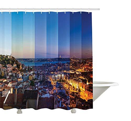 Yeuss Urban Duschvorhang, Panorama der Stadt Lissabon in verschiedenen Variationen des Tages Stadtbild europäischen Blick Foto,Stoff Badezimmer Dekor Set mit Haken,Mehrfarbig 72'x72'