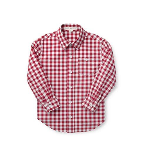 Hope & Henry Boys' Red Gingham Woven Poplin Button Down Shirt