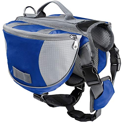 Sunfauo Dog Backpacks Dog Harness Backpack Dogs Self Backpack Dog Travel Bag Pet School Bag Dog Rucksack Dog Camping Accessories Dog Walking Accessories blue,L