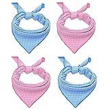 KOOLTAIL Dog Cooling Bandanas 4 Pack 17' X 17' Pet Scarfs Pink & Blue