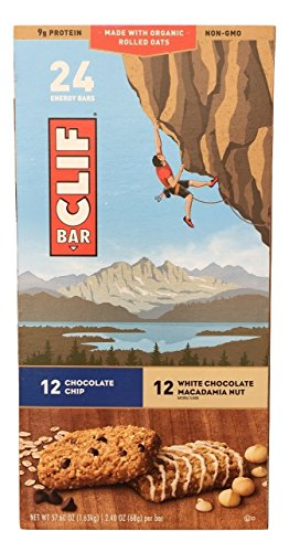Clif Bar Variety Pack with Chocolate Chip and White Chocolate Macadamia Nut, 2.4 Oz Nutrition Energy Bars, 24 Count