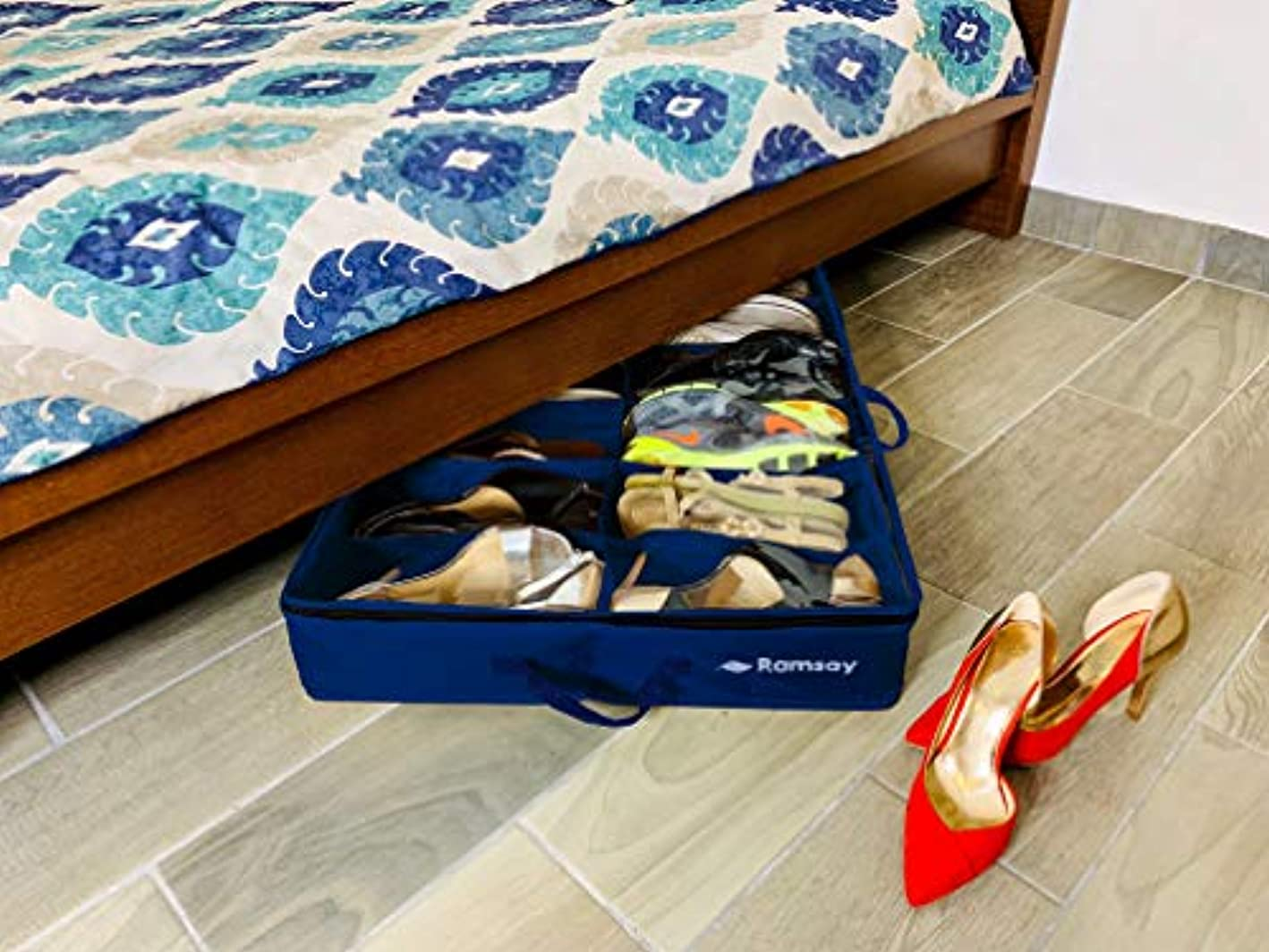 Ramsay Under Under Bed Shoe Storage Organizer Strong and Sturdy,Double, Dust Free Design, Space Saver, 12 Pair Front Zippered Closure, Blue puukkd0571341