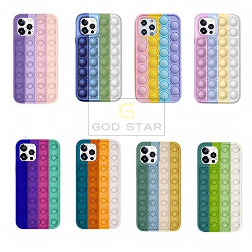 Capinha Para iPhone Anti Stress Bolinhas Pop it Toy Promoção (Rosa/Lilás/Amarelo/Azul, iPhone 7 Plus e iPhone 8 Plus)