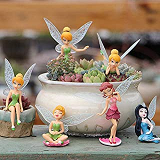 6Pcs Set Miniature Fairies Figurines Accessories, Planter Pot Hanger Decorations Fairies Flower Pot Resin Fairy Garden Fig...