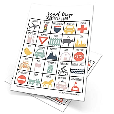 Road Trip Scavenger Hunt Game for Kids, Set of 10, Travel Game, Dry Erase (10 markers included)