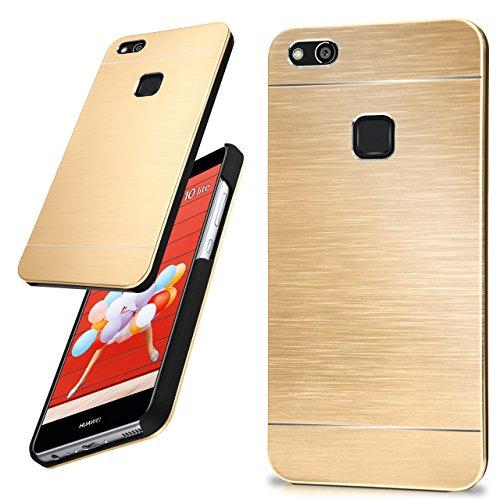 moex Huawei P10 Lite | Hülle Dünn Gold Aluminium Back-Cover Schutz Handytasche Ultra-Slim Handy-Hülle für Huawei P10 Lite Case Metall Schutzhülle Alu Hard-Case