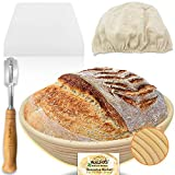 Walfos 9 inch Round Banneton Proofing Basket Set - French Style Sourdough Bread Basket, 100% Natural Rattan - Hand Crafted Bread Lame, Linen Cloth Liner & Dough Scraper Included, Professional Bakers