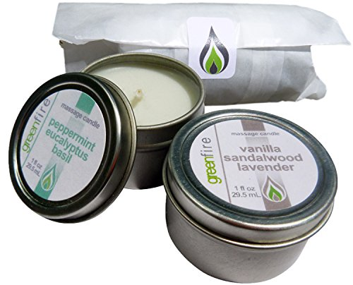 Greenfire 2pk All Natural Massage Oil Candles, Lavender Sandalwood Vanilla, Peppermint Eucalyptus Basil blends (Size: 1 fluid ounce each) by Greenfire Candles for Massage