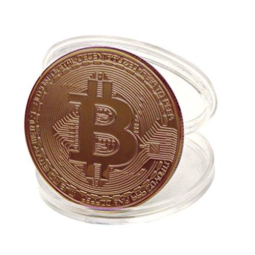 TWIFER Kupfer überzogene Bitcoin Münze Sammlerstück BTC Münze Kunst Sammlung Physikalisch (38mm, Kupfer)
