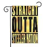 N / A Straight Outta Steeler Nation Fahnen Flagge Flag Banner Polyester Material Gartenbalkon Gartendekoration Im Freien 30x45cm