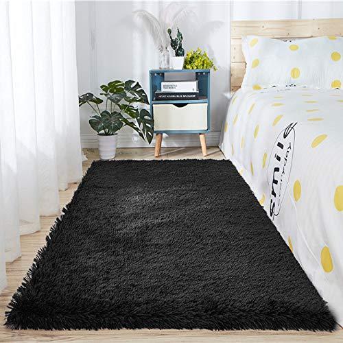 Alfombra de piel de oveja sintética supersuave y gruesa para sala de estar, dormitorio, dormitorio, decoración del hogar, alfombra de pelo de fuax (1,8 m x 2,7 m, color negro)
