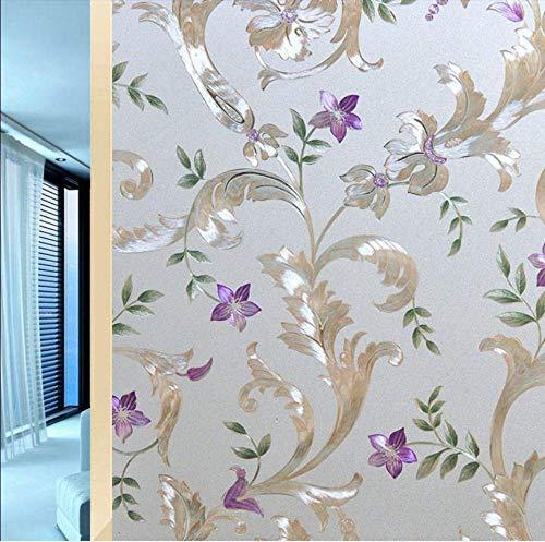Fensterfolie 3D Fensterfolie Selbsthaftend Blickdicht, Ohne Klebstoff Statisch Wiederverwendbar Sichtschutzfolie Uv-Blockierung für Badezimmer Schlafzimmer Küche,Lilane Blumen 60*200Cm