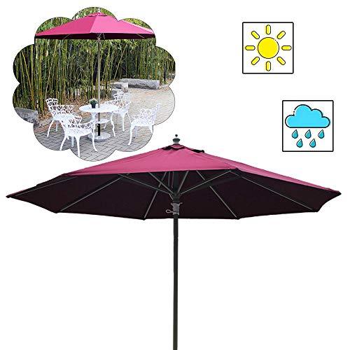 Sombrilla para Jardin Parasol Resistente A La Decoloración 8.8 Ft Paraguas para Patio De Mesa De Aluminio para El Mercado De Porches Al Aire Libre (Blanco, Verde, Rojo)
