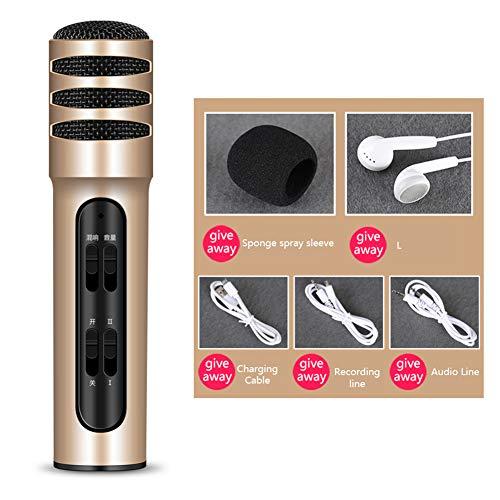 Lirong draadloze bluetooth-microfoon, draagbaar, dual mobiele telefoon, zangmicrofoon, geïntegreerde microfoon in de kaart, USB-oplader voor iPhone, Android, Sony