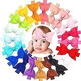 JOYOYO 20 Stück Baby Mädchen Stirnbänder Boutique Ripsband 10,2 cm Haarschleifen und Stirnbänder Soft Head Wraps für Neugeborene Kleinkinder