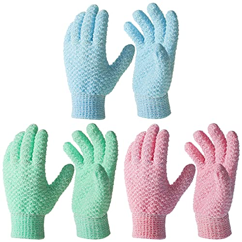 6 Pieces Bath Exfoliating Gloves Scrub Hand Exfoliator Scrub Glove Lengthened and Large Exfoliating Scrubbing Gloves Scrub Exfoliating Mitts for Shower Spa Massage Body Face Hand and Foot