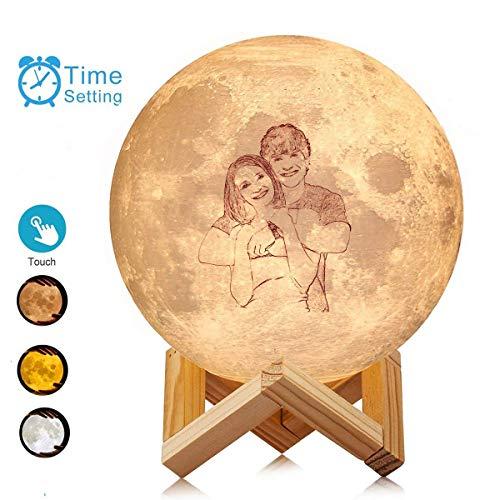 Foto impresa en 3D Luz de luna personalizada Lámpara de luna de 3 colores con soporte Control táctil Regalo de luz nocturna para niños