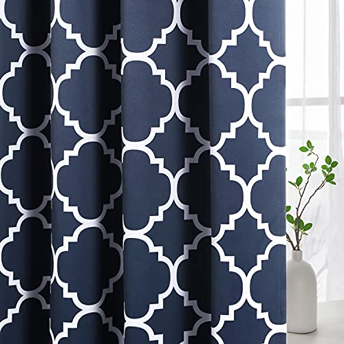H.VERSAILTEX Blackout Curtains for Living Room/Bedroom Thermal Insulated Energy Saving Grommet Window Curtain Drapes (2 Panels) Geometric Moroccan Printed Draperies, Navy and White, 52 by 84 Inch