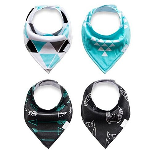 Baby Bandana Drool and Dribble Bibs for Boys and for Girls - (Set of 4, Gift Set) - Best for Babies Drooling, Teething and Feeding (design 3)