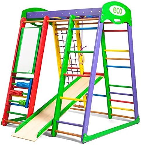 Kinder zu Hause aus Holz Spielplatz mit Rutschbahn  Akvarelka-plus  Kletternetz Ringe Kletterwand