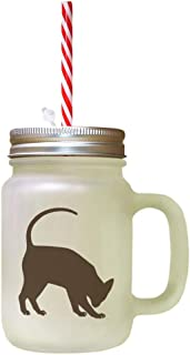 Brown Modern Siames Cat Silhouette #2 Frosted Glass Mason Jar With Straw