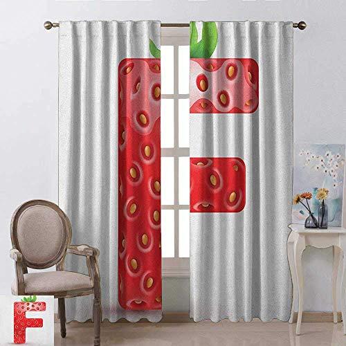 Wild One Curtain letter F schaduwgordijn, geïsoleerd, bessen rood en groene bladeren, hoofdletter F, bedrukt, lampenkap geruisloos