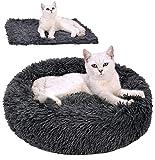 Legendog Cama para Mascotas 2 PCS Suave Redondo Mascotas Cojín Cama de Felpa Nido de Gato cálido y Suave + Manta Suave para Perros y Gatos Negro