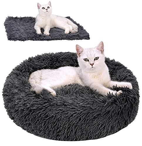 Legendog Katzenbett Flauschig Katzenkissen Plüsch hundebett 2 Stücke Runden Weich Warm Haustierbett + Haustierdecke Katzen schlafplatz für Katzen und Kleine Hunde 50cm