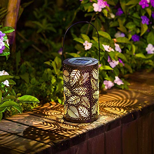 Solar Laterne Gartenlicht,SUAVER Retro Solar Tischlampe Outdoor Solarleuchten Garten Dekorative solarlampen Metall Kunst Hängend Lampe für Baum Patio Terrasse Garten Party Leuchte (Blatt)