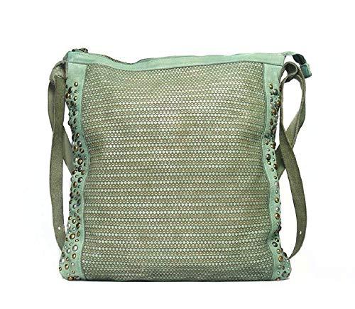 Taschendieb: Gluckgasse 1, rechteckige Rucksackhandtasche mit Lasercut und Nieten, mintgrün