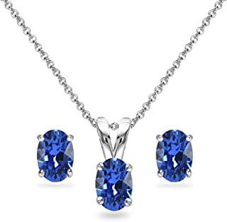 Sterling Silver 6x4mm Oval Solitaire Pendant Necklace & Stud Earrings Set Made with Swarovski Crystals