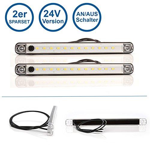 LED-MARTIN 2er Sparset Innenraumleuchte mit Schalter 12V 238mm x 20,6mm